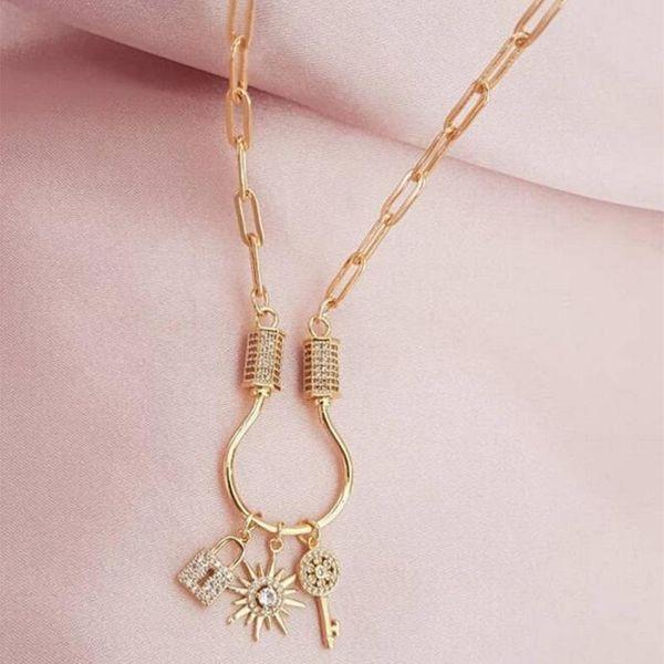 New creative lock diamond necklace fashion alloy sun key pendant NHNZ183841