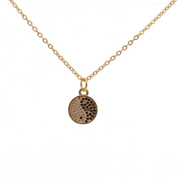 Hot Sale Micro Inlaid Zircon Yin Yang Bagua Fine Diamond Pendant Necklace NHYL183931