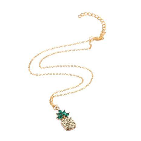 Chaîne d'argent courte de mode ananas sauvage de fruits en cristal NHYL183938's discount tags