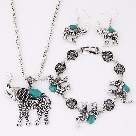 European and American metal inlaid turquoise cute baby elephant temperament necklace earrings bracelet set NHSC184034's discount tags