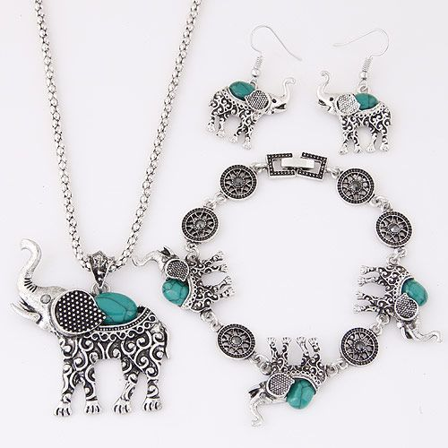 European and American metal inlaid turquoise cute baby elephant temperament necklace earrings bracelet set NHSC184034