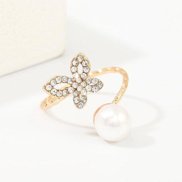 Nuevo anillo de diamantes de mariposa de moda de joyería anillo de flores de cuentas de arroz NHNZ183842