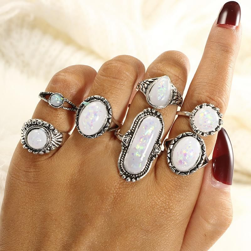 New geometric water drop diamond star moon ball men and women joint ring seven-piece set NHGY183799