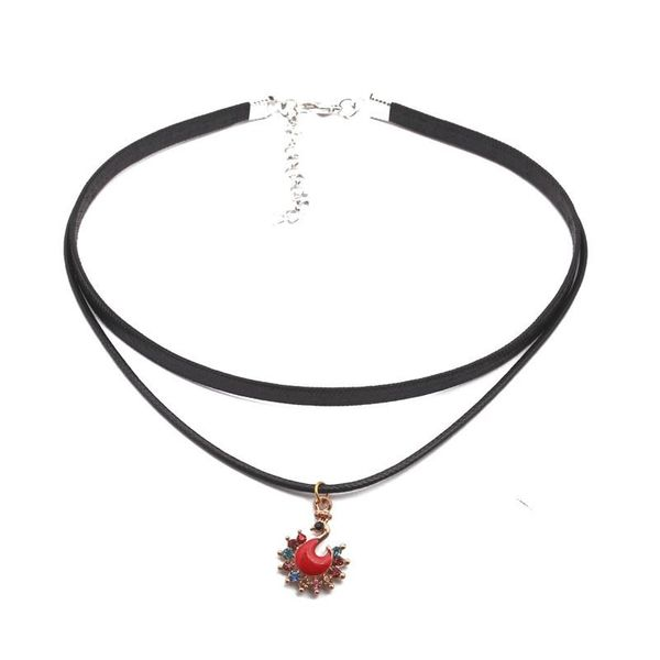 Necklace Fashion Simple Double Peacock Swan Collar Necklace NHYL183940