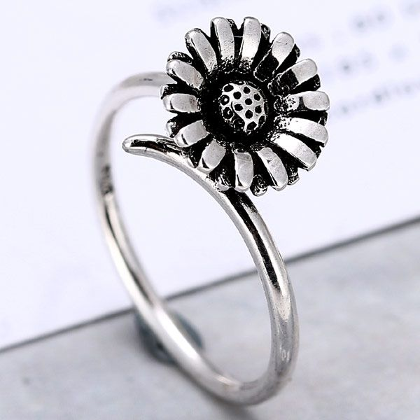 Fashion vintage chrysanthemum personality open ring NHSC184058