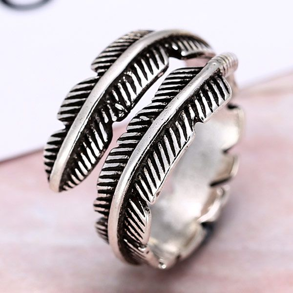 European and American fashion retro leaf temperament personality open ring NHSC184075