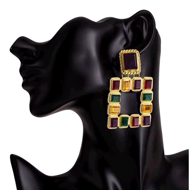 European and American trend metal colorful geometric three-dimensional square temperament exaggerated earrings NHSC184036