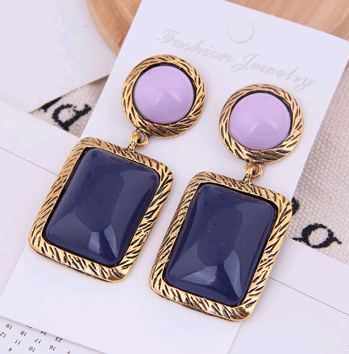 European and American fashion metal two-color geometric square accessories exaggerated temperament earrings NHSC184082