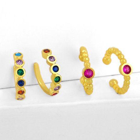 Creative C-shaped ear clip earrings colored zircon ear pierced ear clips NHAS183998's discount tags