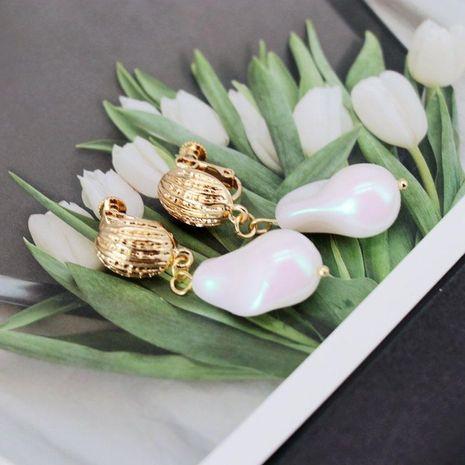 White Irregular Imitation Pearl Ear Clip Ear Studs Geometric Pearl Ear Clip Ear Studs NHOM183901's discount tags