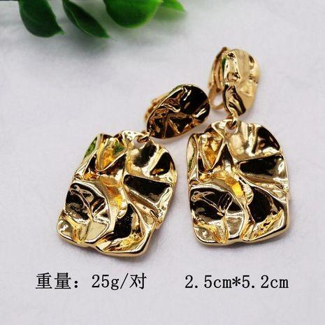 Gold Silver Rectangular Metal Ear Clip Irregular Rectangular Wrinkled Retro Ear Clip NHOM183916's discount tags