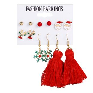 Christmas Earring Holiday Gift Santa Gift Fashion Snowflake Earring Set 6 Pairs NHPJ183993's discount tags