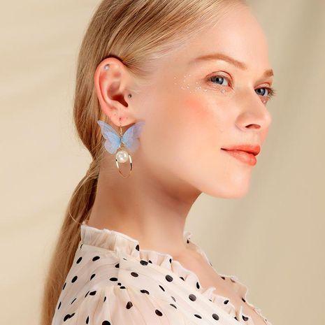 S925 sterling silver earrings long super fairy pearl pendant simple gauze butterfly earrings NHQD183856's discount tags