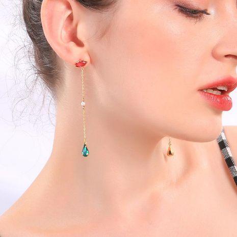 Crystal Pearl Water Drop Long Pendant Earrings Korean Earring Tassel Earrings NHQD183860's discount tags