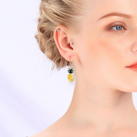 Korean version of enamel glaze fruit earrings pineapple earrings female new earrings NHQD183874's discount tags