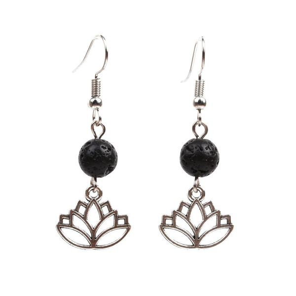 fashion earrings volcanic stone earrings seven chakra lotus earrings NHYL183953