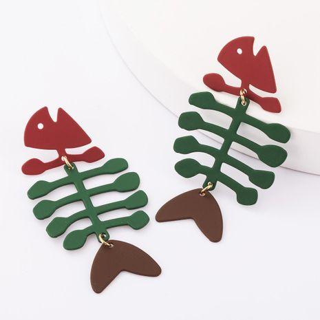 earrings new alloy spray fish bone S925 silver pin earrings women NHJE183823's discount tags