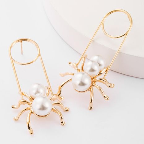 Long alloy animal earrings with pearls women fashion jewelry wholesale NHJE183825's discount tags
