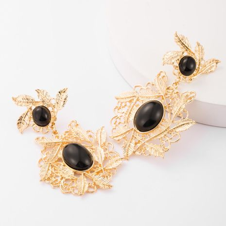 Fashion multilayer alloy leaf resin earrings female vintage court style earrings NHJE183828's discount tags