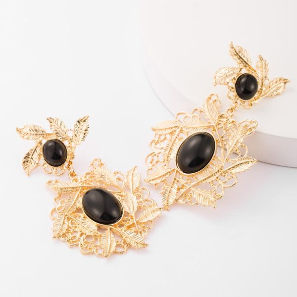 Fashion multilayer alloy leaf resin earrings female vintage court style earrings NHJE183828