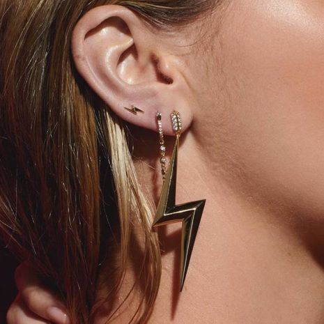 Diamond Lightning Earrings Bohemian Geometric Stud Earrings NHGY183788's discount tags