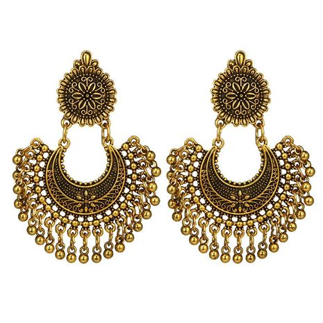 New Bohemian Metal Carved Flowers Semicircle Long Bell Tassel Earrings NHGY183793's discount tags