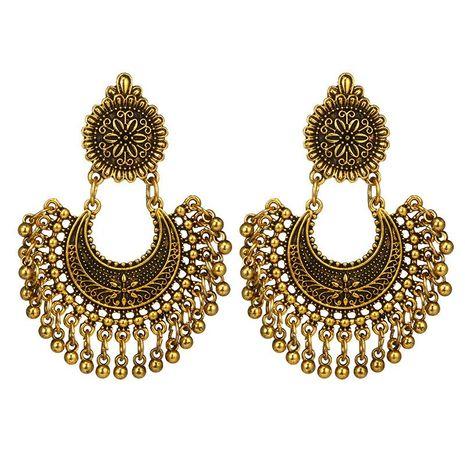 New Bohemian Metal Carved Flowers Semicircle Long Bell Tassel Earrings NHGY183793's discount tags