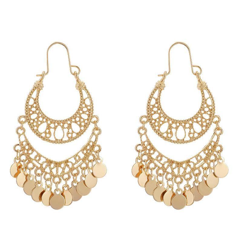 Vintage Tassel U-Shaped Earrings Female Disc Hollow Crescent Long Earrings NHGY183818