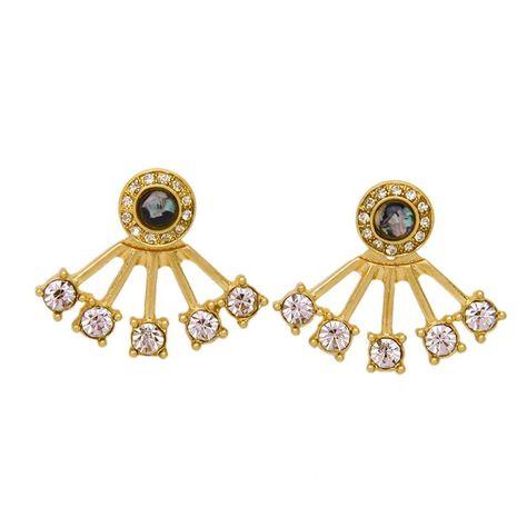 Explosion jewelry wholesale diamond detachable fan pendant ladies earrings NHQD183864's discount tags