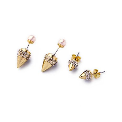 Jewelry wholesale alloy bullet head pearl pendant ladies earrings NHQD183867's discount tags