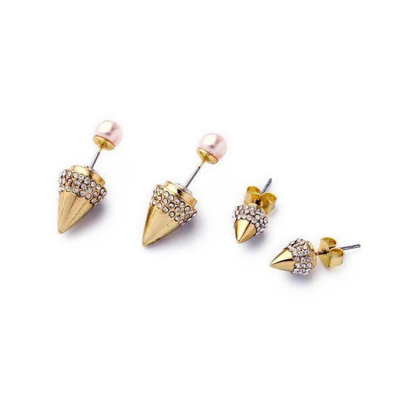Jewelry wholesale alloy bullet head pearl pendant ladies earrings NHQD183867