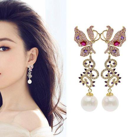New Color Butterfly Flower Earrings S925 Silver Stud Earrings Pearl Tassel Long Earrings NHDO184002's discount tags
