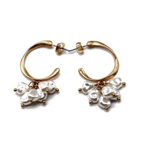 Semi-circular C-shaped gold stud earrings with irregular white pearl earrings NHOM183899's discount tags