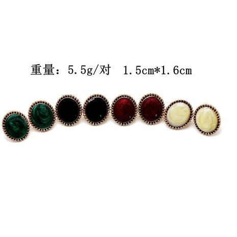 Colored drop glaze oval earrings wine red green simple earrings wholesales fashion  NHOM183896's discount tags