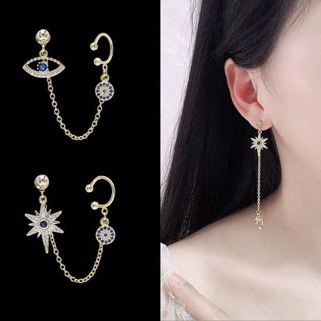 Devil's Eye Studs Integrated Dual-use Mi-zirconia Simple Wild Earrings NHDO184025's discount tags