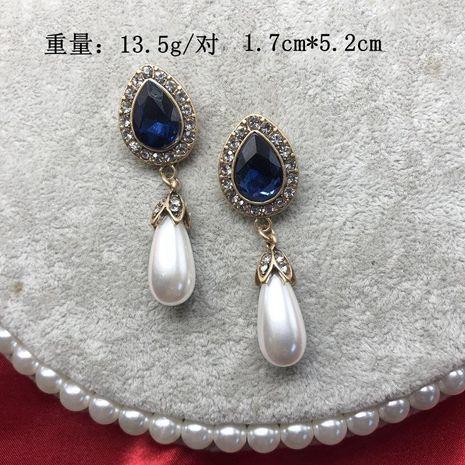 Blue Gemstone Ear Studs Vintage Ear Studs Baroque Water Drop Pearl Stud Earrings NHOM183912's discount tags