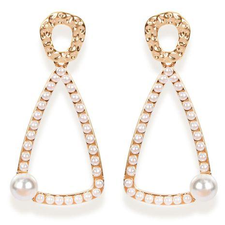 Earrings female geometric metal imitation pearl long earrings NHCT183778's discount tags