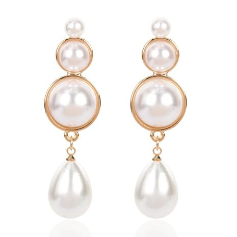 Simple earrings elegant drop-shaped alloy inlaid pearl imitation sweet earrings for women NHCT183779's discount tags
