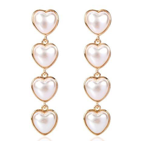 Korean style long love imitation pearl earrings fashion earrings women NHCT183782's discount tags