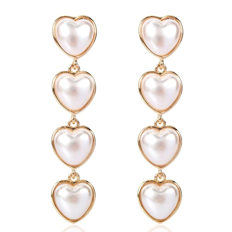 Korean style long love imitation pearl earrings fashion earrings women NHCT183782