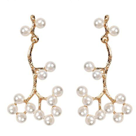 Korean imitation pearl twig flower earrings sweet retro earrings for women NHCT183783's discount tags