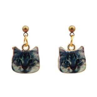Cute cat head earrings earrings Korean cartoon dripping animal pendant earrings jewelry NHYL183954's discount tags