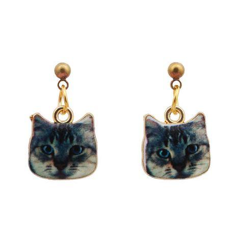 Cute cat head earrings earrings Korean cartoon dripping animal pendant earrings jewelry NHYL183954's discount tags