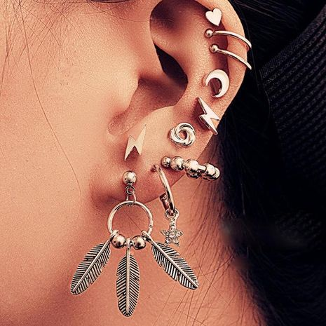 New Lightning Feather Stud Earrings Set of 10 Creative Ear Clips NHPJ183990's discount tags
