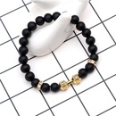 Matte Black Frosted Stone Bracelet Beads 8mm Stretch Natural Stone Dumbbell Bracelet Bracelet Bracelet Wholesale NHYL183949