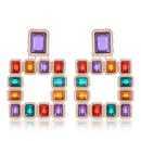 European and American trend metal colorful geometric threedimensional square temperament exaggerated earrings NHSC184036