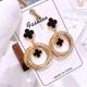 Metal flash diamond simple multi-circle temperament stud earrings NHSC184043