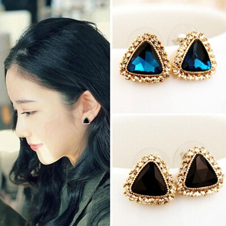 Large rhinestone stud earrings with crystals NHDP190610