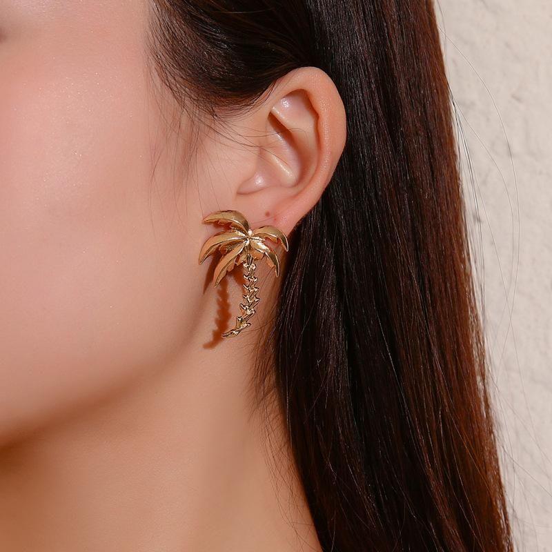 Best selling earrings coconut tree stud earrings accessories NHDP190617