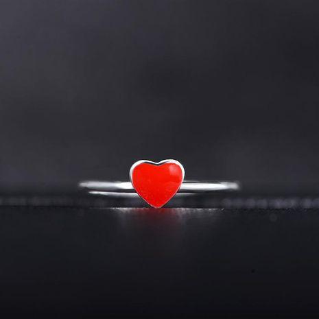 Nouvelle mode bague en argent femelle coréenne ouverture réglable bague en forme de coeur amour coeur rouge bracelet NHDP190624's discount tags